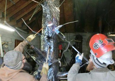 Artisan Erin Aylor and Apprentice-Welder Davin Boyce fabricating Three Little Birds, 2020