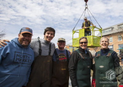 CCKAP 2020.03.14 Installation Crew - Rotarian Mike Pilch, Chris Barbot, Rotarians Jim Reinsch, Bernard Gouin, and Neil Fay, and Artisan Thomas Sterner (Tree of Life) in the man basket